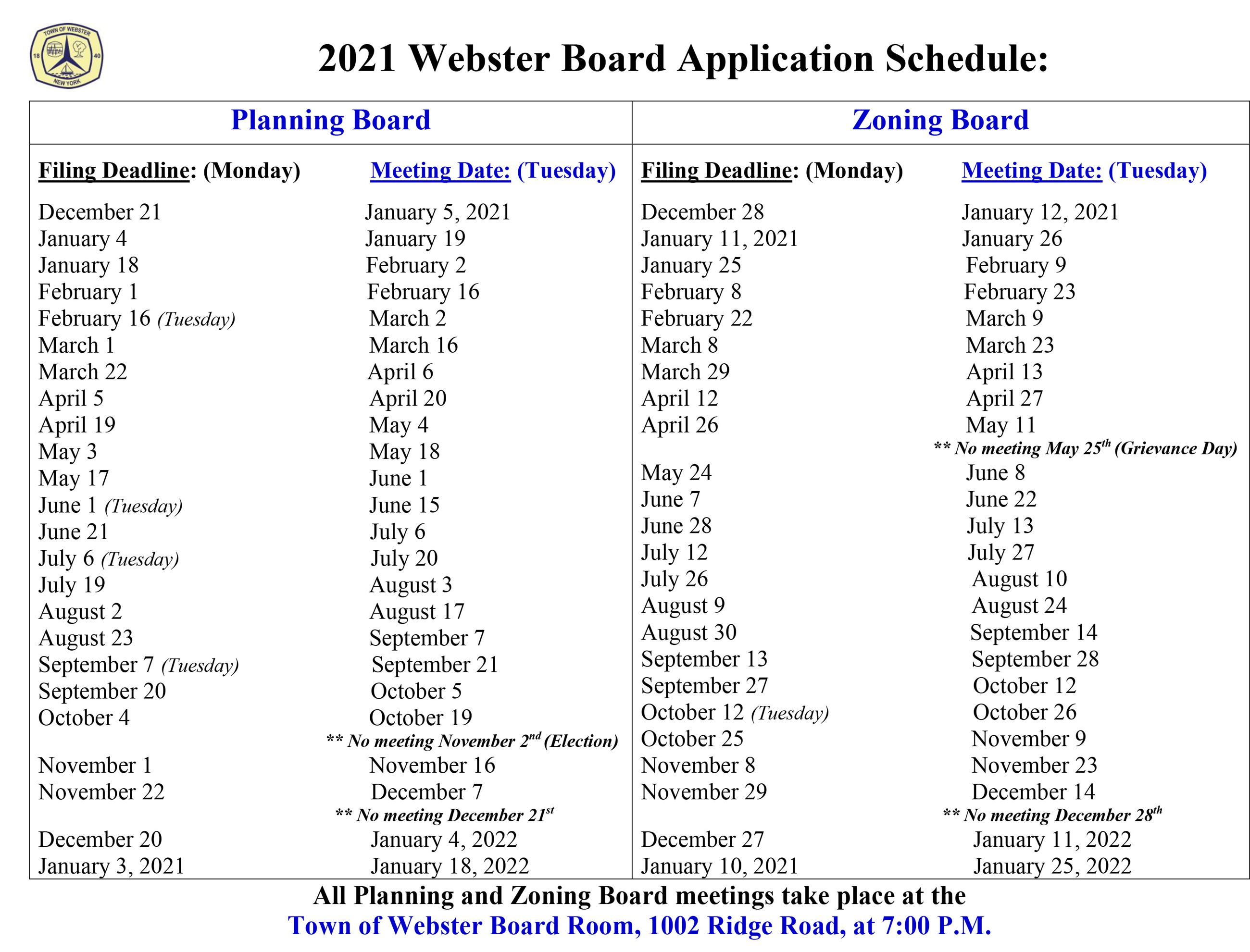 2021 PB and ZBA Schedule